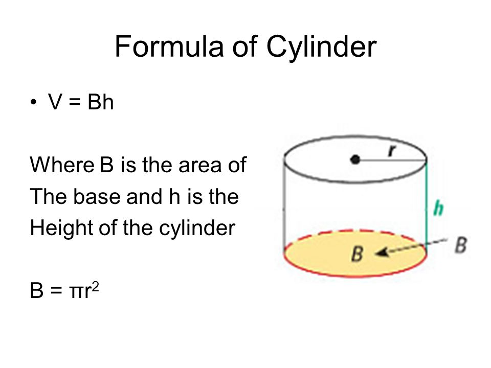 Formula of Cylinder V = Bh Where B is the area of
