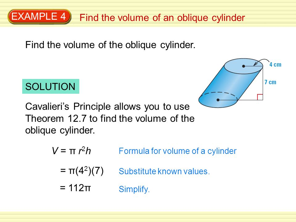 Find the volume of an oblique cylinder