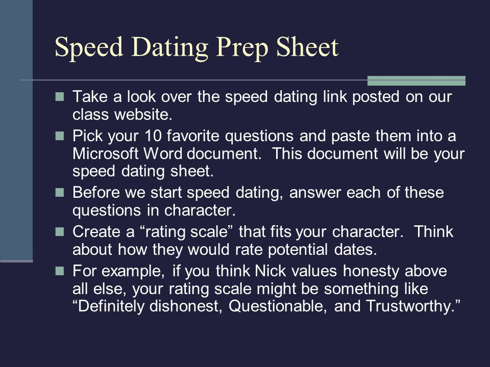 Speed Dating Prep Sheet