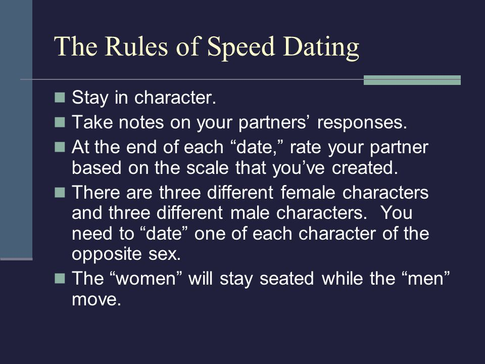The Rules of Speed Dating