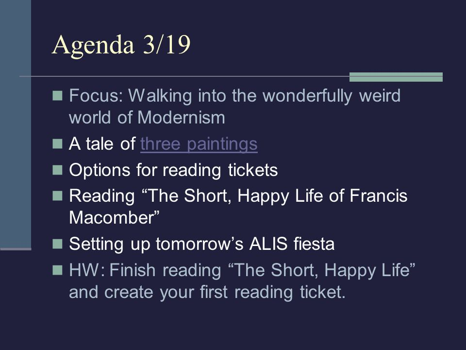 Agenda 3/19 Focus: Walking into the wonderfully weird world of Modernism. A tale of three paintings.