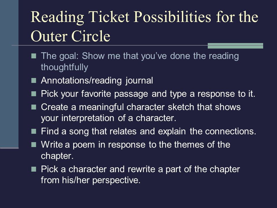 Reading Ticket Possibilities for the Outer Circle