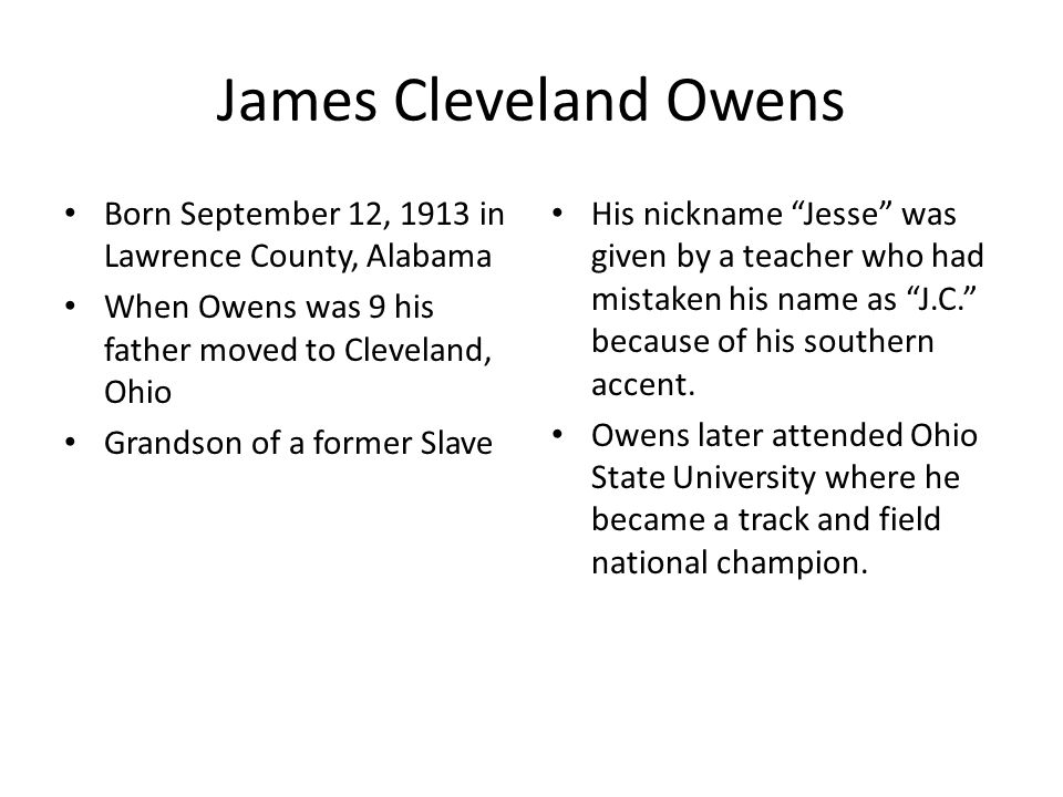 a description of jesse owens on olympic champion Unlike most editing & proofreading services, we edit for everything: grammar, spelling, punctuation, idea flow, sentence structure, & more get started now.