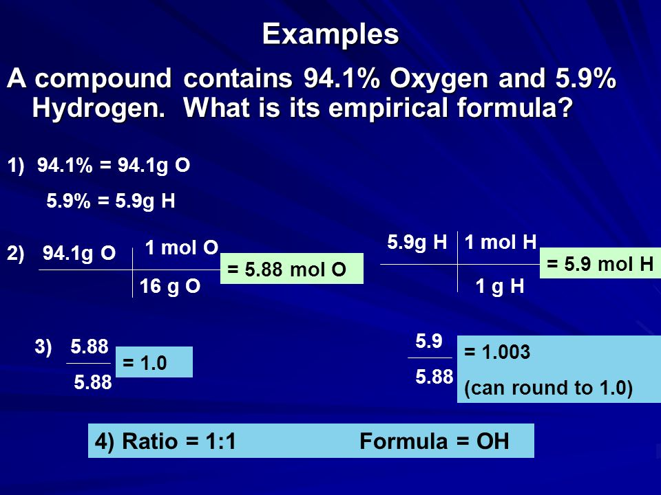 Examples A compound contains 94.1% Oxygen and 5.9% Hydrogen. What is its empirical formula 94.1% = 94.1g O.