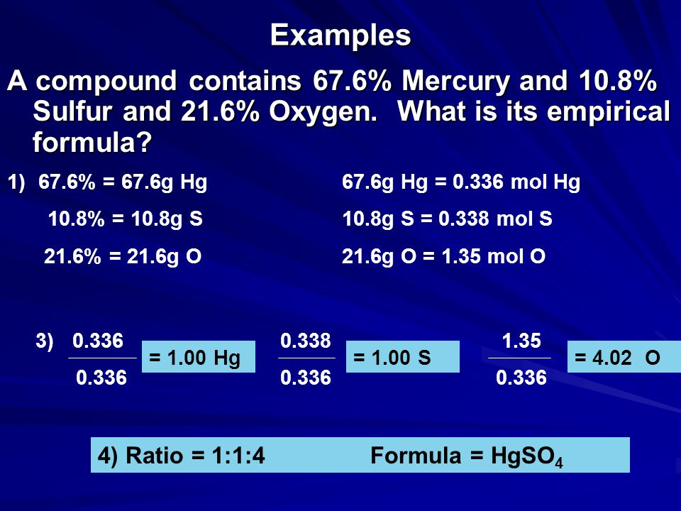 Examples A compound contains 67.6% Mercury and 10.8% Sulfur and 21.6% Oxygen. What is its empirical formula