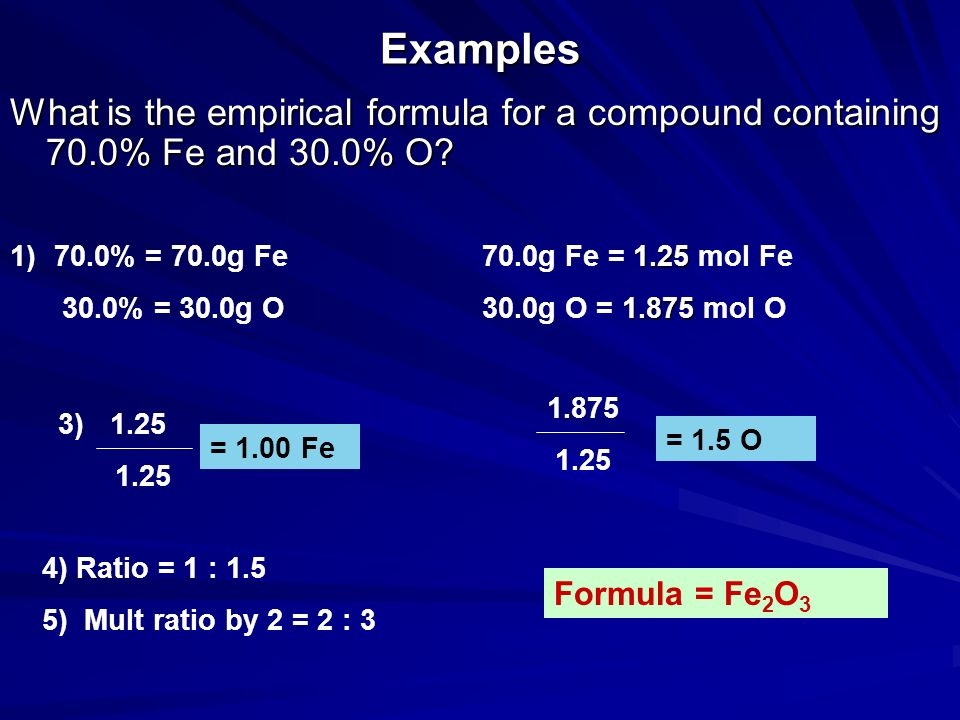 Examples What is the empirical formula for a compound containing 70.0% Fe and 30.0% O 70.0% = 70.0g Fe.