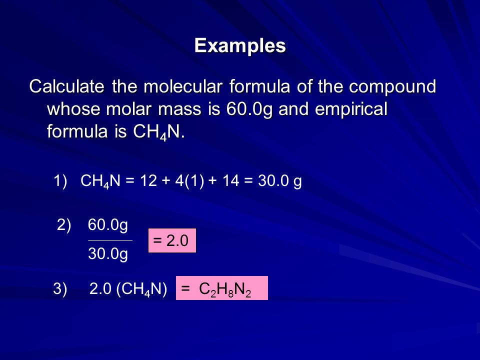 ExamplesCalculate the molecular formula of the compound whose molar mass is 60.0g and empirical formula is CH4N.