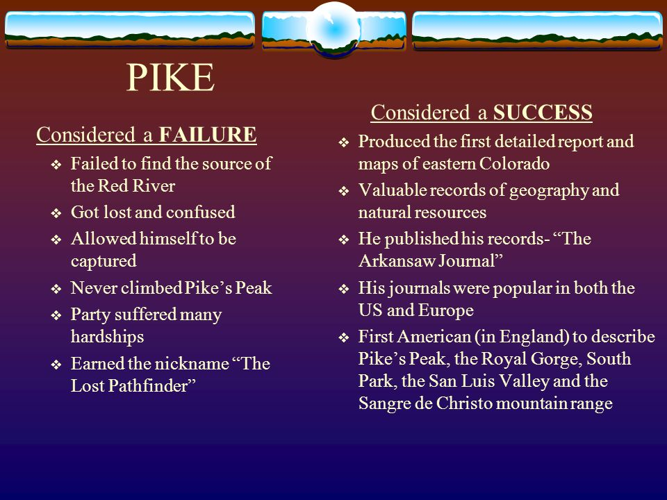 PIKE Considered a SUCCESS Considered a FAILURE