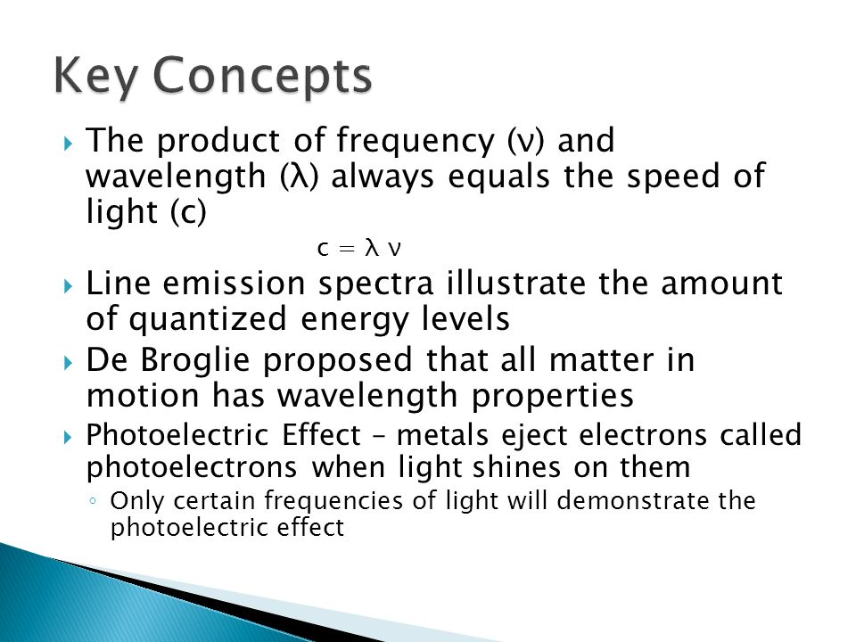 Key Concepts The product of frequency (ν) and wavelength (λ) always equals the speed of light (c)
