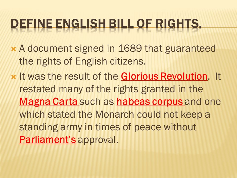 who made the english bill of rights