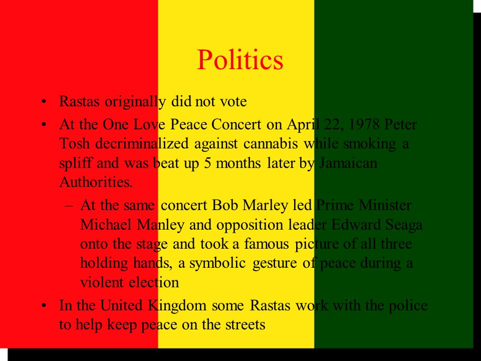 Politics Rastas originally did not vote