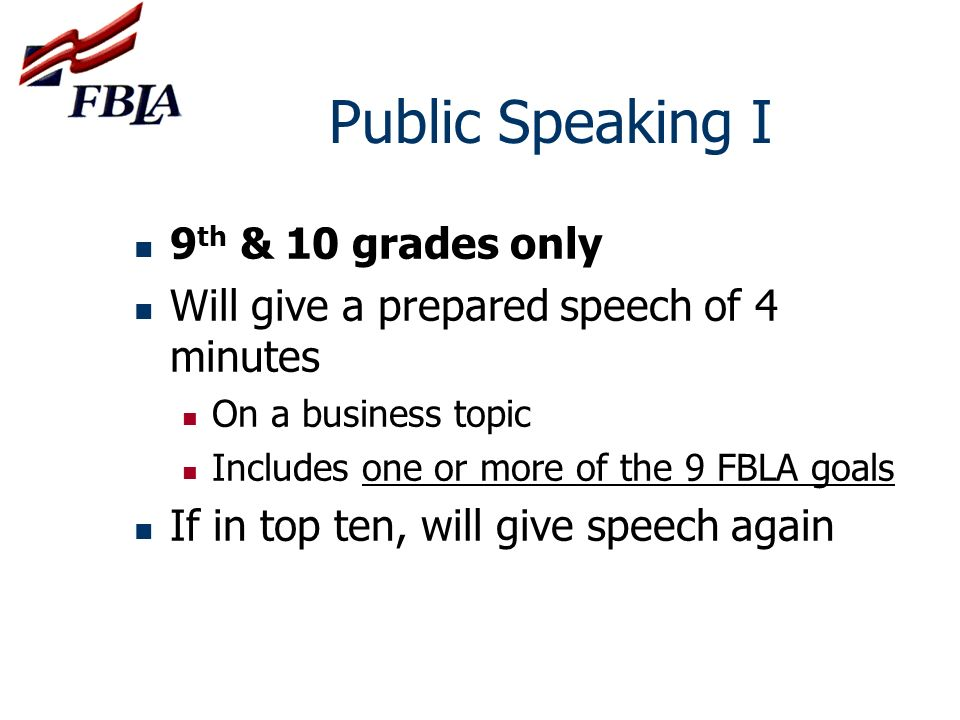 Public Speaking I 9th & 10 grades only