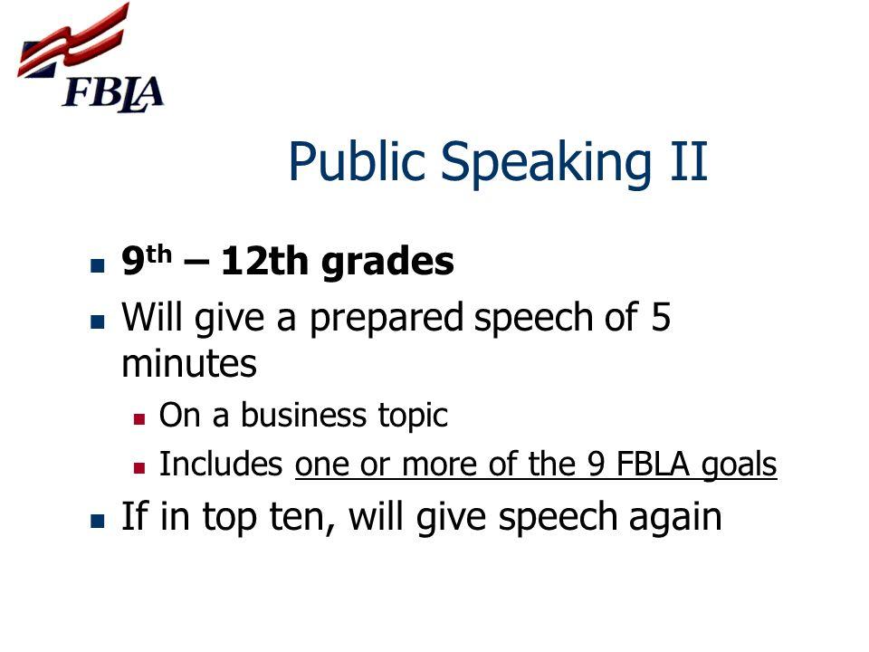 Public Speaking II 9th – 12th grades