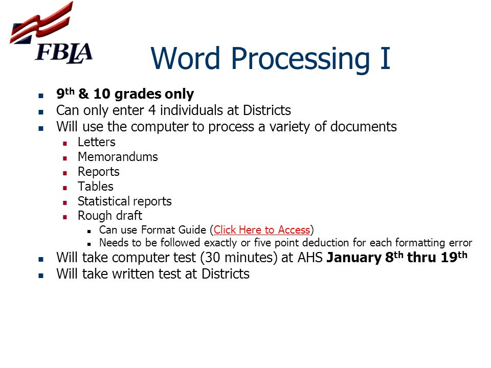 Word Processing I 9th & 10 grades only