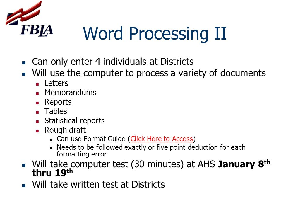 Word Processing II Can only enter 4 individuals at Districts