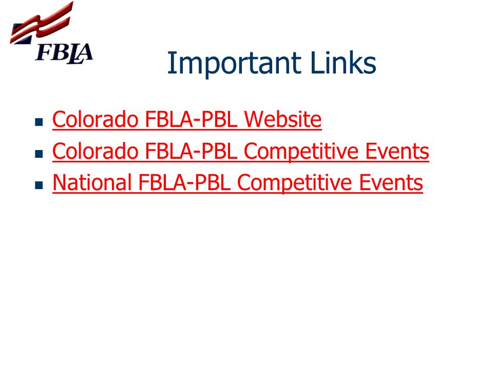 Important Links Colorado FBLA-PBL Website