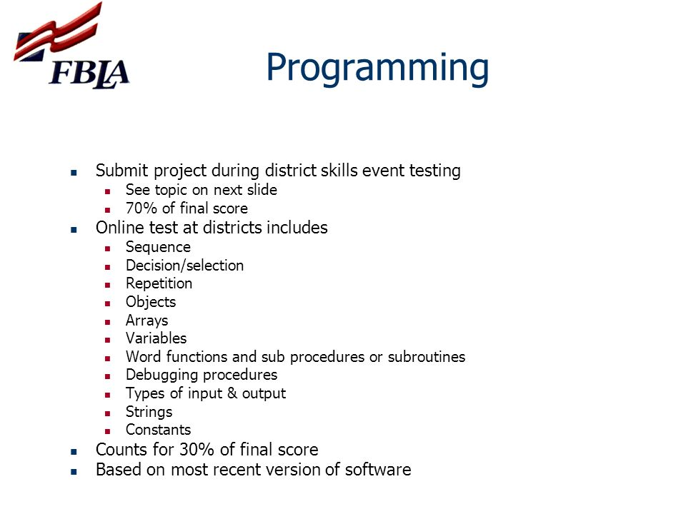 Programming Submit project during district skills event testing
