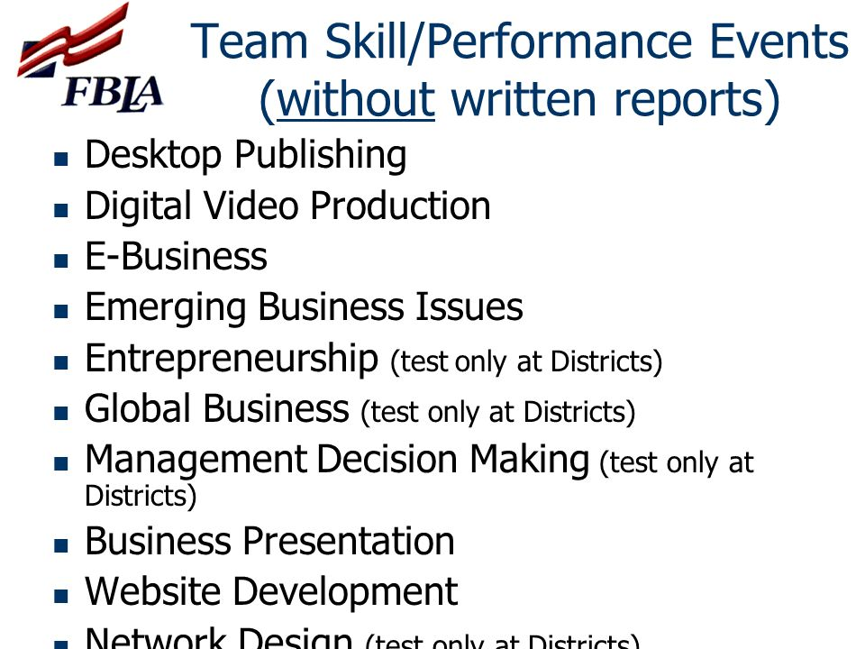 Team Skill/Performance Events (without written reports)