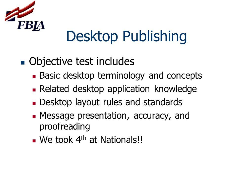 Desktop Publishing Objective test includes