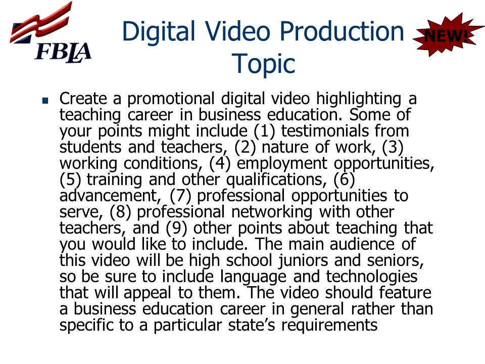 Digital Video Production Topic