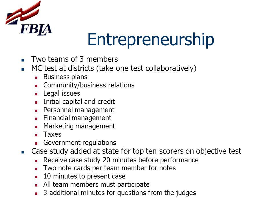 Entrepreneurship Two teams of 3 members