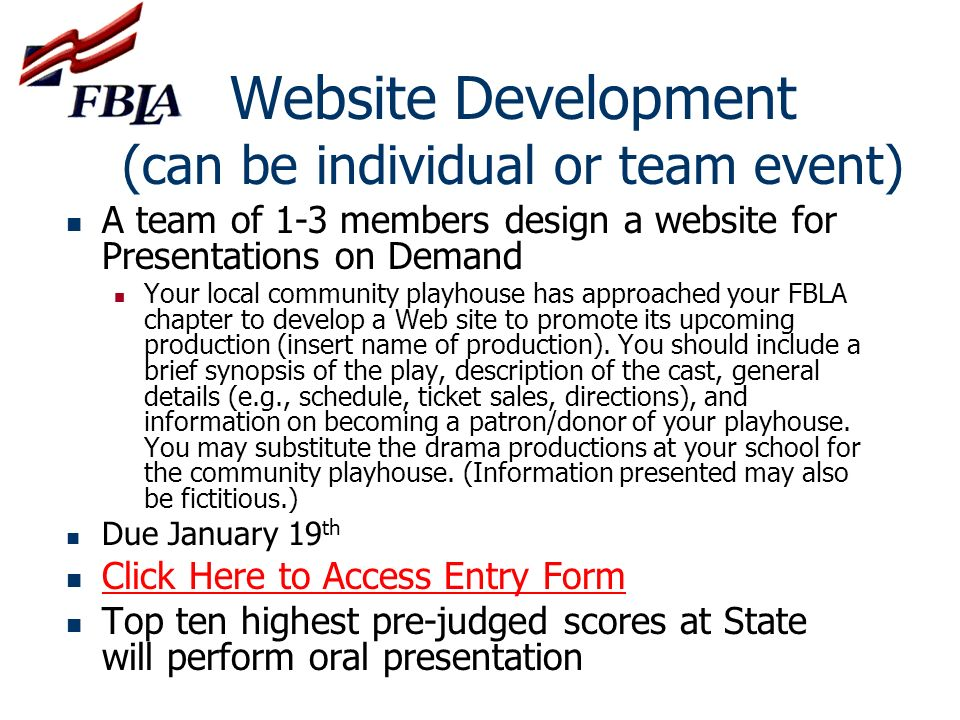 Website Development (can be individual or team event)