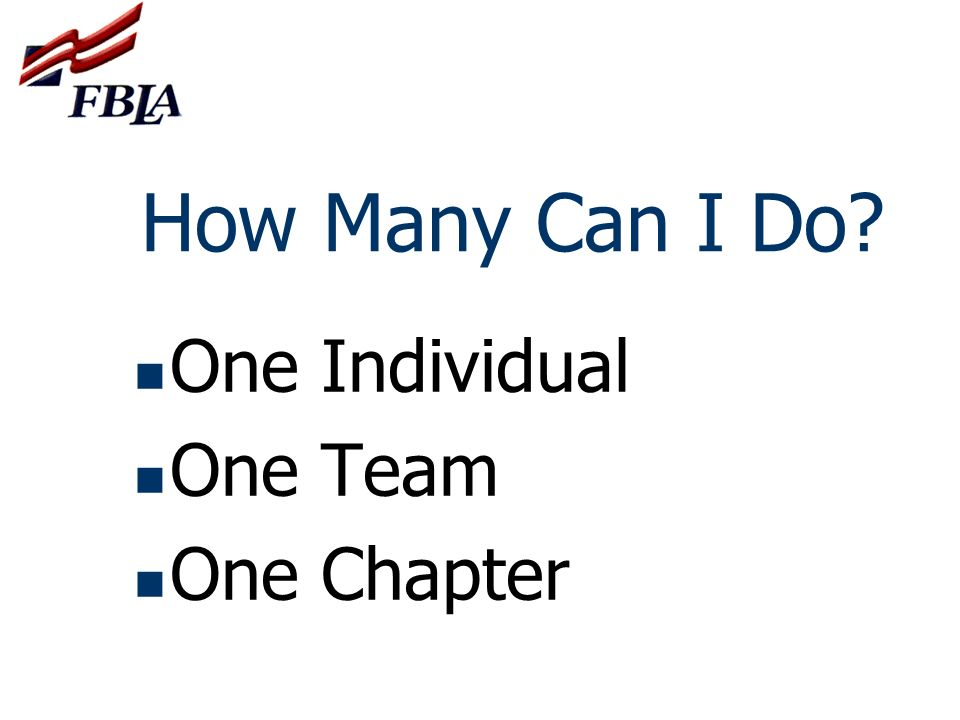 How Many Can I Do One Individual One Team One Chapter