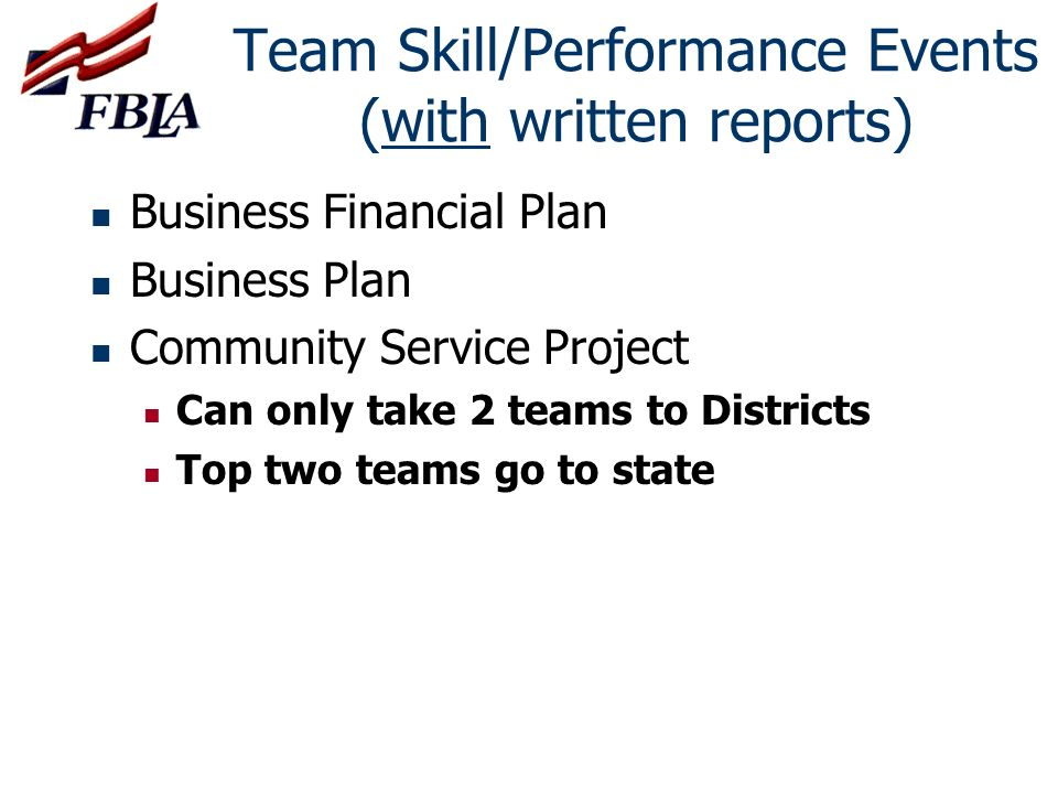 Team Skill/Performance Events (with written reports)
