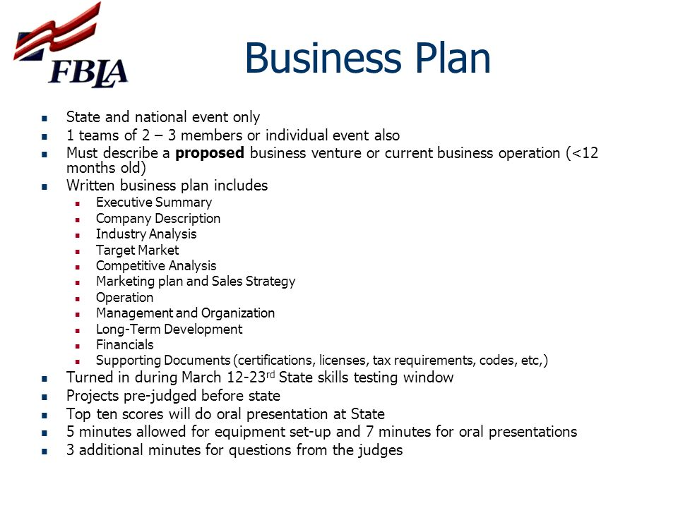 Business Plan State and national event only