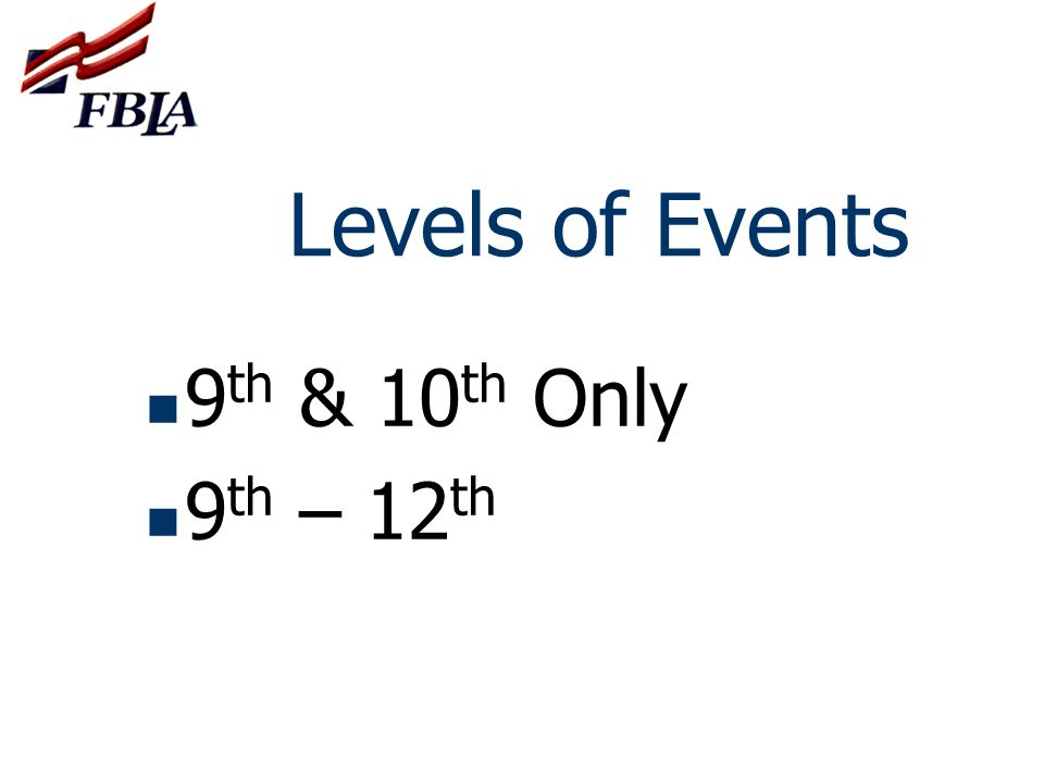 Levels of Events 9th & 10th Only 9th – 12th