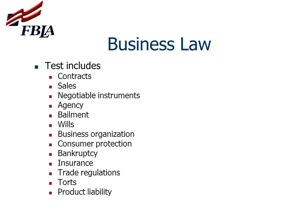 Business Law Test includes Contracts Sales Negotiable instruments