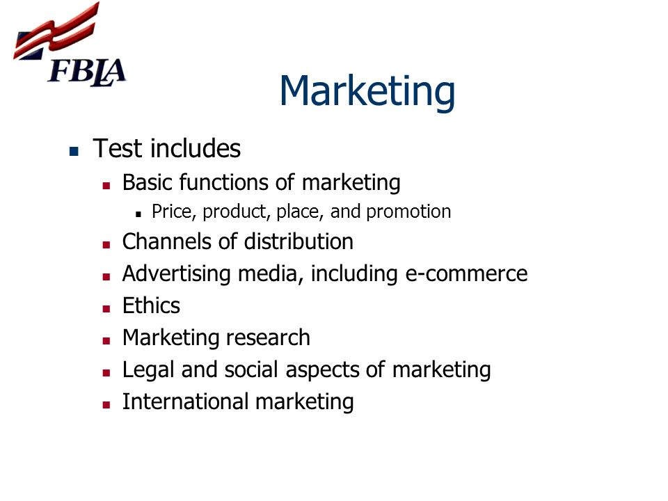 Marketing Test includes Basic functions of marketing