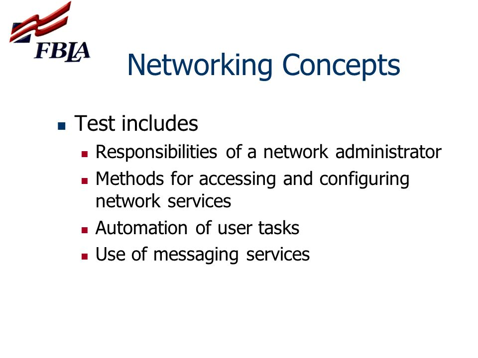 Networking Concepts Test includes