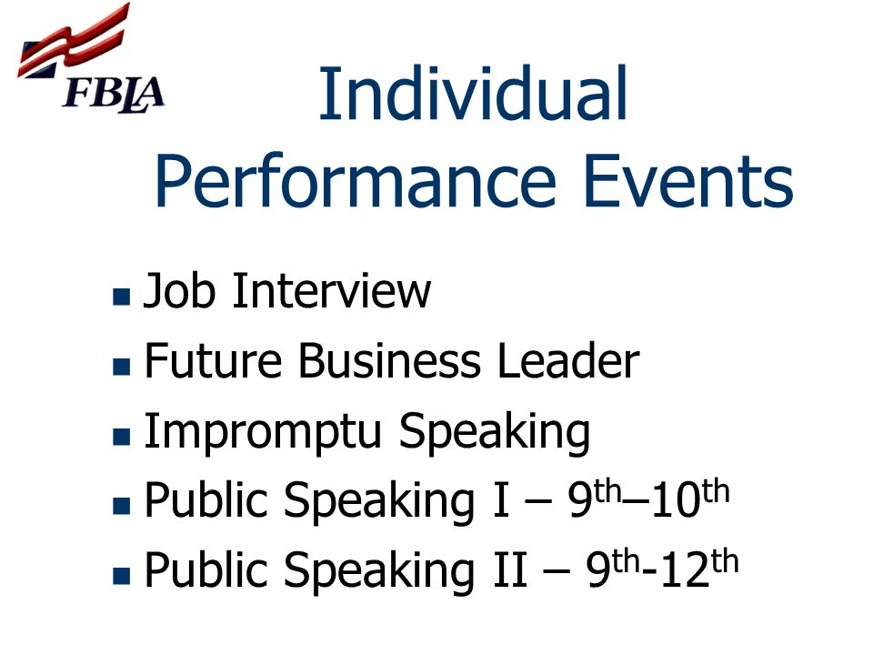 Individual Performance Events