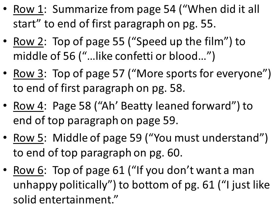 Row 1: Summarize from page 54 ( When did it all start to end of first paragraph on pg. 55.