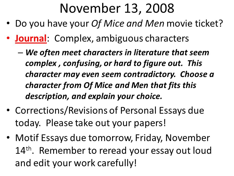 of mice and men character development essay