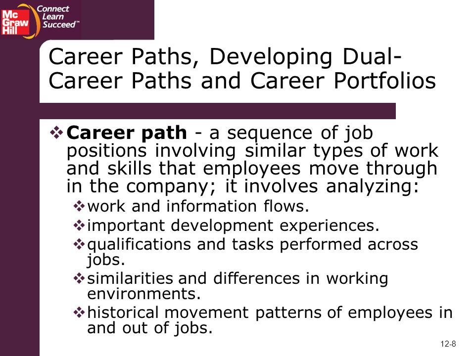 personal work history and career path Career planning is the process by which an individual takes time to plan his or her job path and moves-both short-term and long-term, in the light of their own strengths and motivations, and the existing or forecasted job market opportunities.