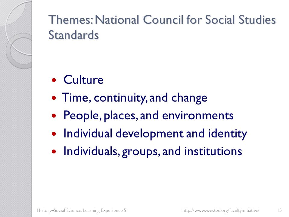 Themes: National Council for Social Studies Standards