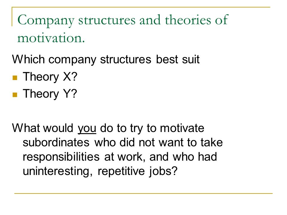theories of work motivation Introduction to special topic forum the future of work  motivation theory richard m steers richard t mowday  university of.