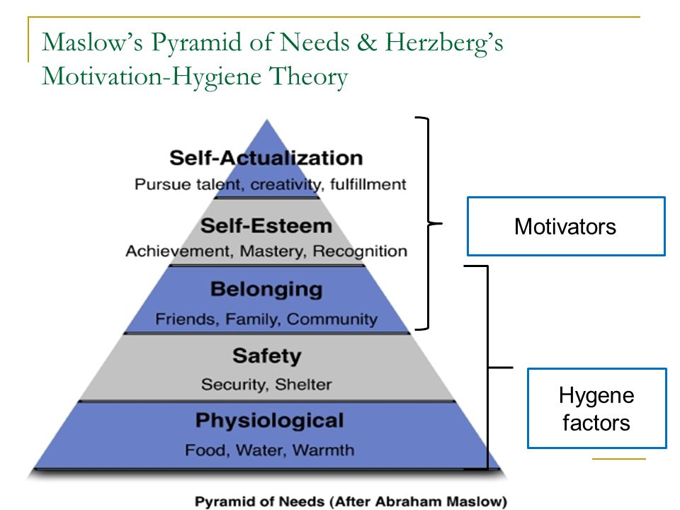 an essay on the hierarchy of needs and hygiene theories There are two theories to learn motivation these are psychological theory and physiological theory psychological theory creates such type of environmental situation and manages stable eye sight on the outcome of that event and the behavior of motivated people physiological study comes by clarifying origin of natural motivation patterns.