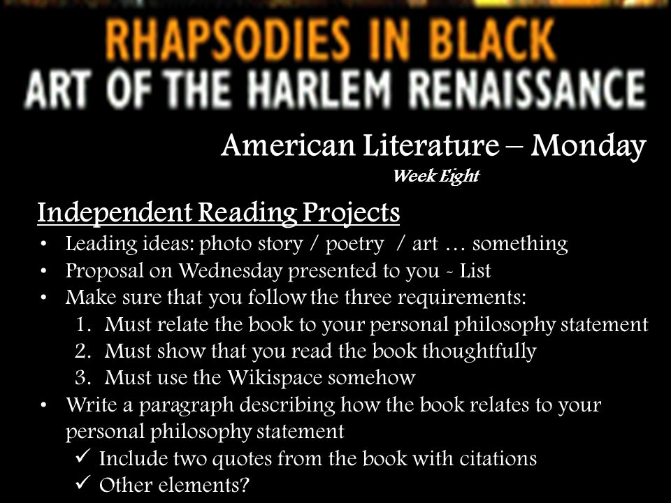 American Literature – Monday Week Eight