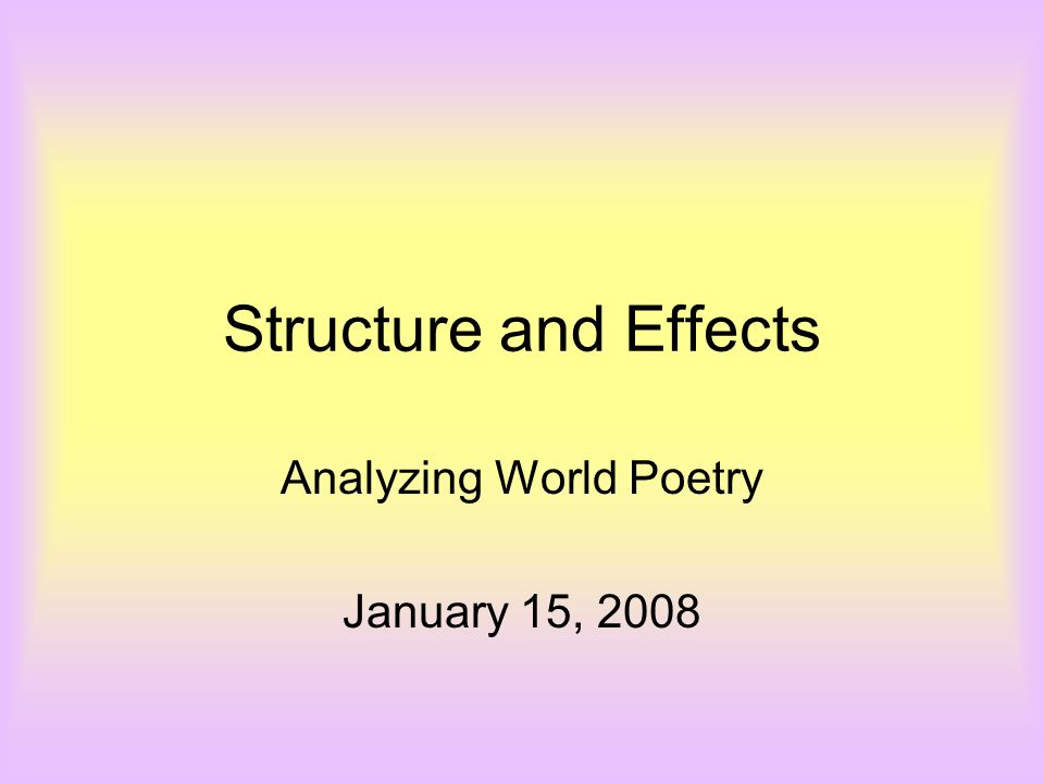 Analyzing World Poetry January 15, 2008