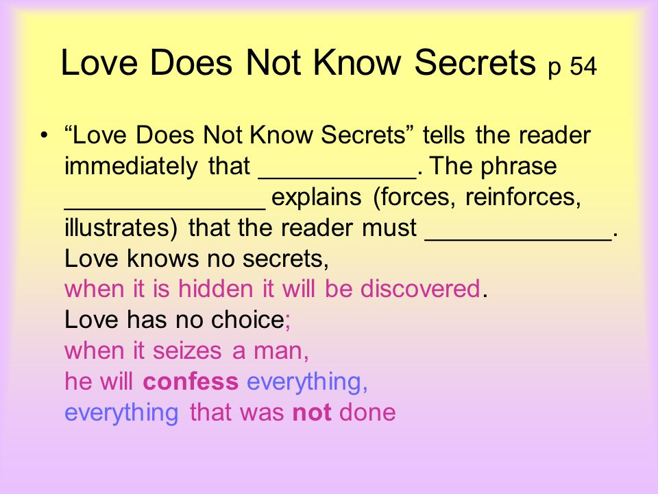 Love Does Not Know Secrets p 54