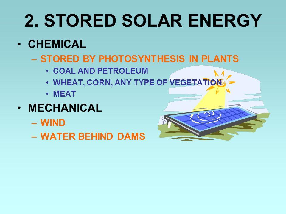 2. STORED SOLAR ENERGY CHEMICAL MECHANICAL