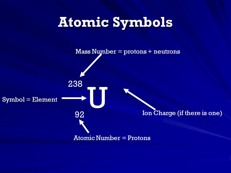 U Atomic Symbols 238 92 Mass Number = protons + neutrons