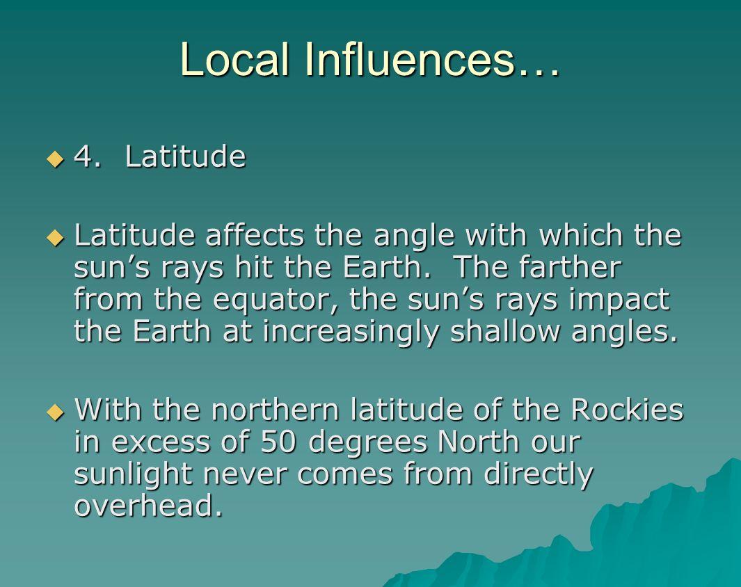 Local Influences… 4. Latitude
