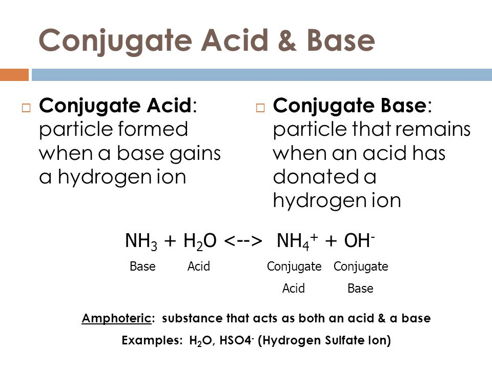 Conjugate Acid & Base Conjugate Acid: particle formed when a base gains a hydrogen ion.