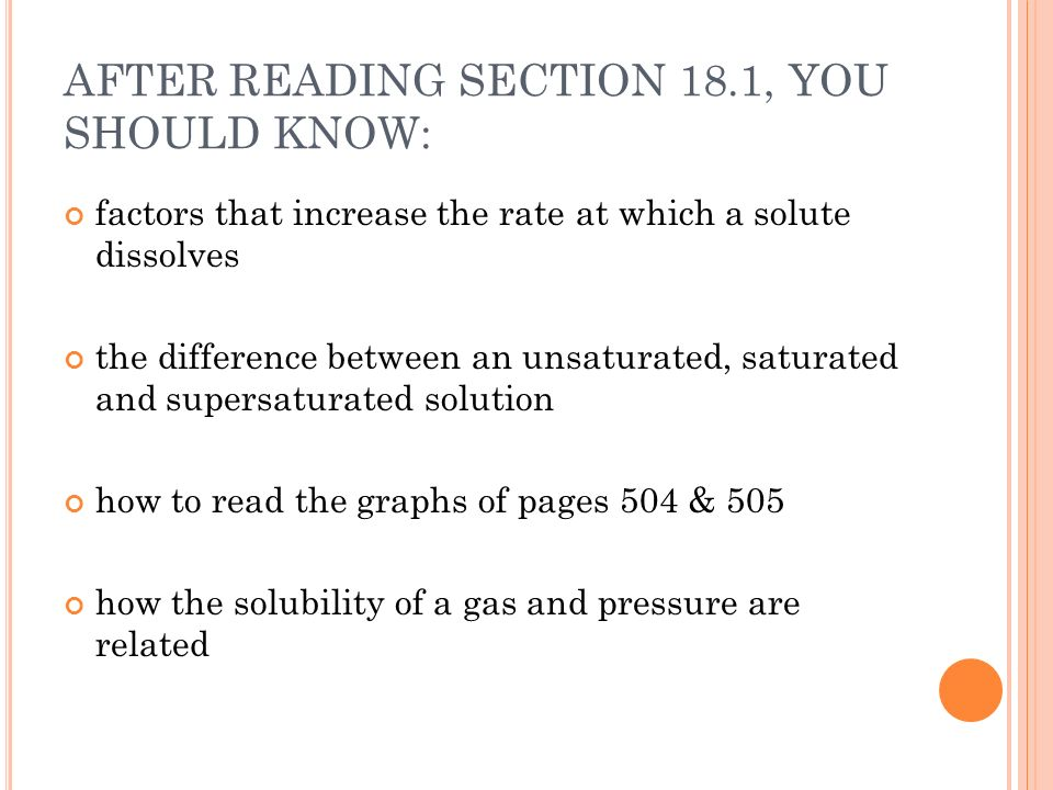AFTER READING SECTION 18.1, YOU SHOULD KNOW: