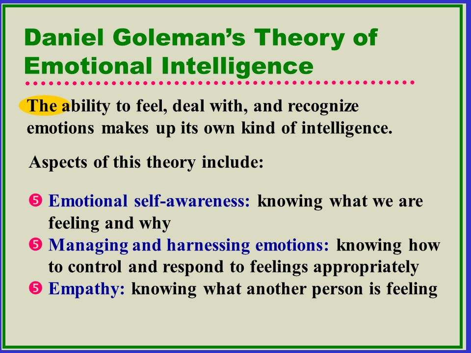 Daniel Goleman's Theory of Emotional Intelligence