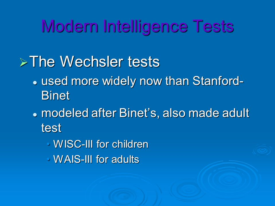 Modern Intelligence Tests